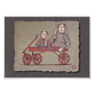 Carro, conejo y muñecas rojos cojinete