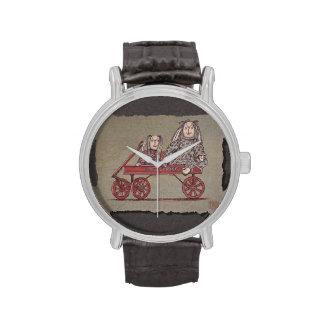 Carro, conejo y muñecas rojos reloj de mano