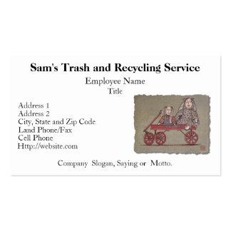 Carro, conejo y muñecas rojos plantillas de tarjeta de negocio
