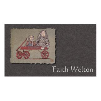 Carro, conejo y muñecas rojos tarjetas de visita