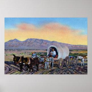 Carro cubierto del prospector del desierto de Las  Póster