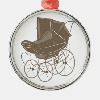 Carro de bebé adorno navideño redondo de metal