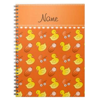 Carro de bebé anaranjado conocido del rubberduck spiral notebook