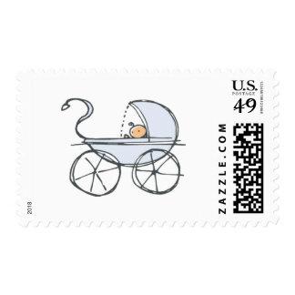 Carro de bebé azul sello