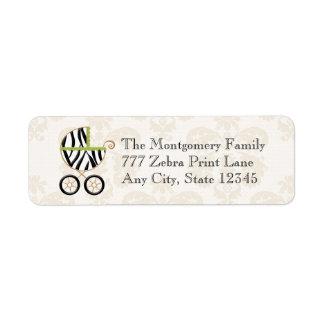 Carro de bebé del estampado de zebra de la verde l etiqueta de remite