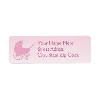 Carro de bebé en sistema rosado de la fiesta de bi etiqueta de remitente