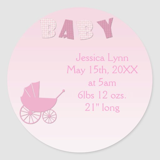 Carro de bebé en sistema rosado de la fiesta de pegatinas redondas