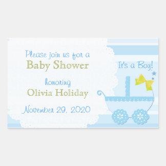 ¡Carro de bebé es un muchacho! Pegatina azul de la