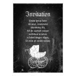 Carro de bebé gótico invitacion personalizada