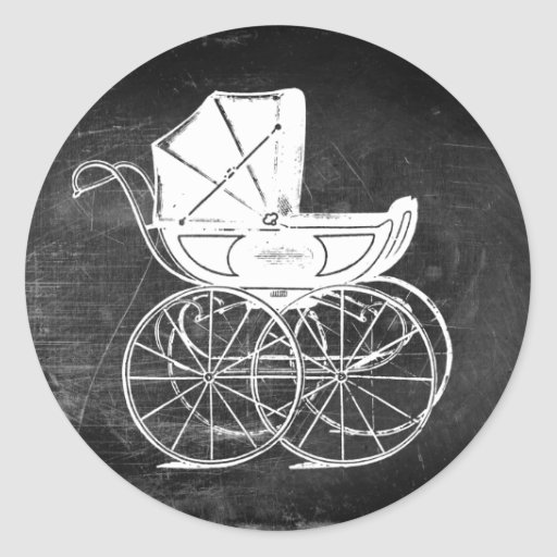 Carro de bebé gótico pegatina redonda