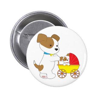 Carro de bebé lindo del perrito pin redondo de 2 pulgadas