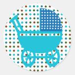 Carro de bebé punteado ducha infantil de los pegatina redonda