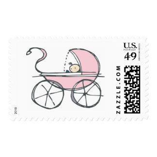 Carro de bebé rosado sello