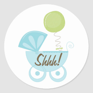 ¡Carro de bebé Shhh! Pegatina Redonda