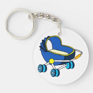 carro de bebé temático azul graphic.png llavero redondo acrílico a doble cara