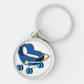carro de bebé temático azul graphic.png llavero redondo plateado