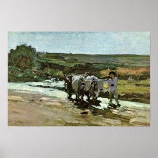 Carro de Bullock en Ford de Grigorescu Nicolae Póster