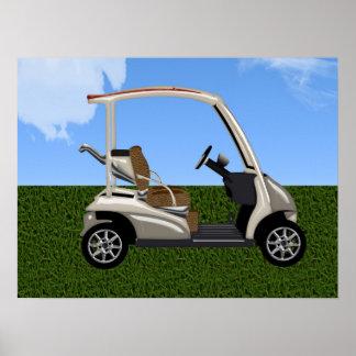 carro de golf 3D en hierba Póster