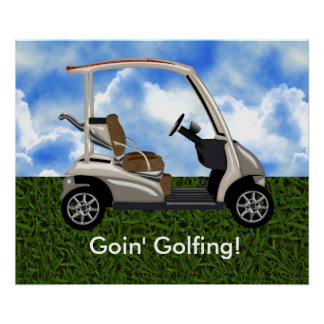 carro de golf beige 3D en hierba Póster