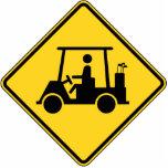 Carro de golf de la precaución escultura fotográfica
