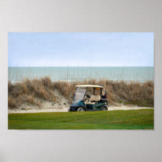 Carro de golf en el décimo octavo agujero, Kiawah Póster