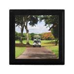 Carro de golf en la trayectoria caja de recuerdo