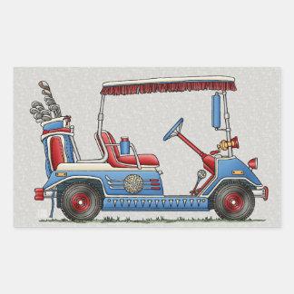 Carro de golf lindo pegatina rectangular