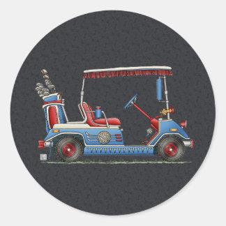 Carro de golf lindo pegatina redonda