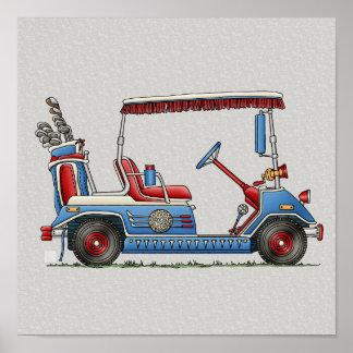 Carro de golf lindo póster