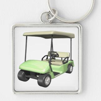 Carro de golf llavero cuadrado plateado