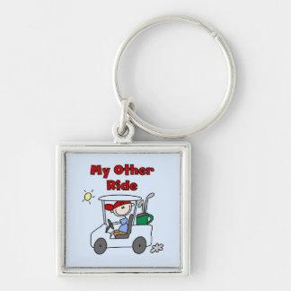 Carro de golf otro camisetas y regalos del paseo llavero cuadrado plateado
