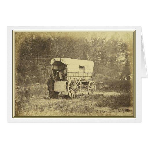 Carro de la batería del telégrafo de campo tarjetón