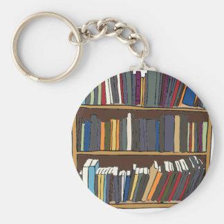 Carro de la biblioteca llavero redondo tipo pin