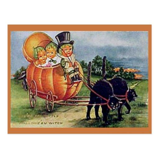 Carro de la calabaza tarjetas postales