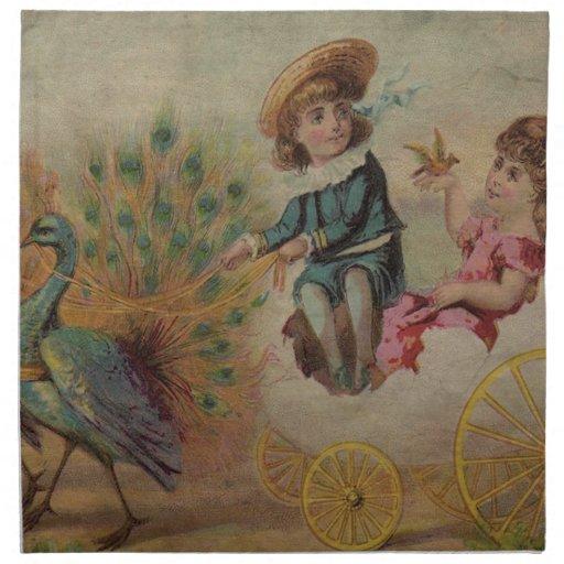 Carro de la cáscara de huevo de Pascua dibujado Servilleta De Papel