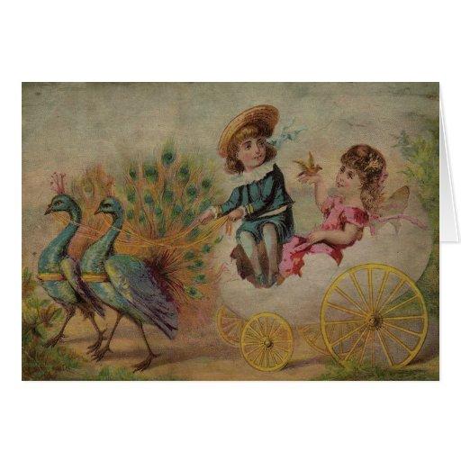 Carro de la cáscara de huevo de Pascua dibujado Tarjeta De Felicitación