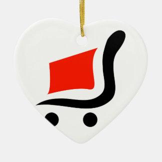 carro de la compra abstracto adorno de cerámica en forma de corazón