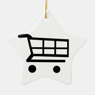 Carro de la compra adorno de cerámica en forma de estrella