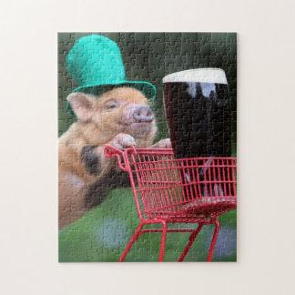 Carro de la compra del cerdo del perrito puzzle con fotos