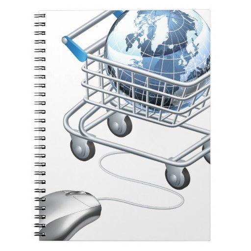 Carro de la compra del ratón del ordenador del glo libro de apuntes con espiral