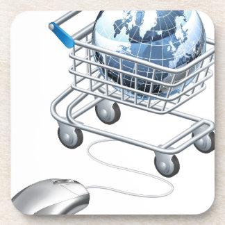 Carro de la compra del ratón del ordenador del glo posavaso