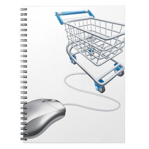 Carro de la compra del ratón libros de apuntes con espiral