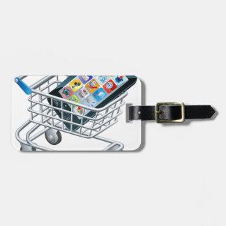 Carro de la compra del teléfono móvil etiquetas de equipaje