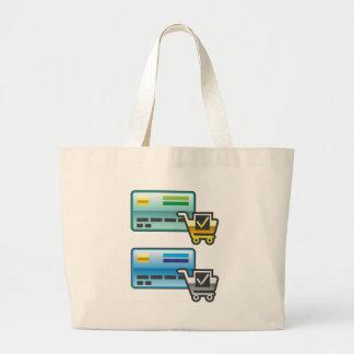 Carro de la compra e icono de la tarjeta de bolsa tela grande