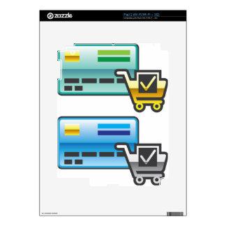 Carro de la compra e icono de la tarjeta de calcomanía para iPad 2