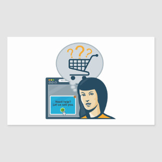 Carro de la compra femenino del comprador del pegatina rectangular