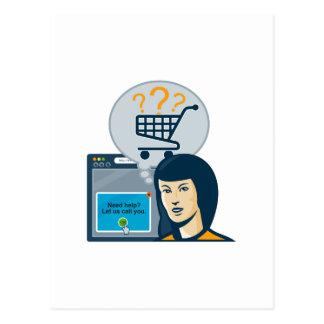 Carro de la compra femenino del comprador del tarjetas postales