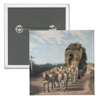 Carro de la etapa, grabado por J. Baily Pin Cuadrado