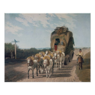 Carro de la etapa, grabado por J. Baily Póster