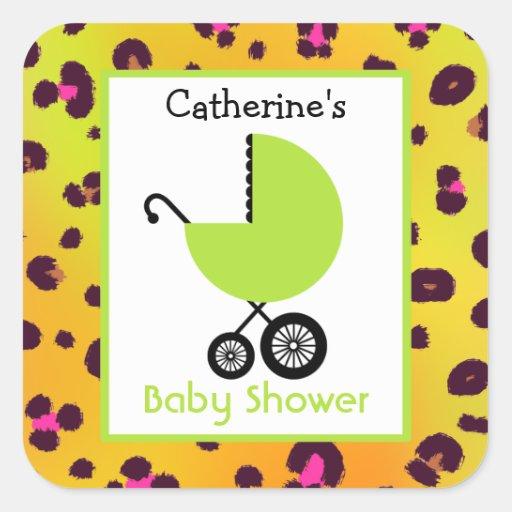 Carro de la fiesta de bienvenida al bebé y calcomanías cuadradas personalizadas